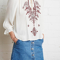 White Embroidered Details Blouse