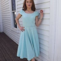 Pale Green Blue 50s Cotton Dress Vintage 1950s AS IS M