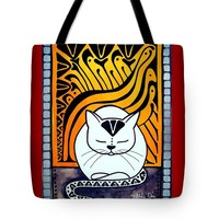 Meditation - Cat Art By Dora Hathazi Mendes Tote Bag