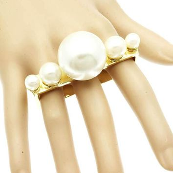 Gold Three Finger Pearl Knuckle Ring