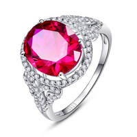 925 Sterling Silver Rose Red Ruby Oval Pigeon Ring