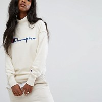 Champion High Neck Sweatshirt With Front Logo at asos.com