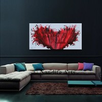 """Painting, Abstract Painting 48"""" Red Modern Painting, Large Wall Art, Office Decor, Contemporary Canvas Art Gift for Mom by Nandita"""