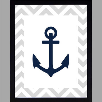 Nautical Nursery Decor Baby Boy Anchor, Gray and Navy, Art, CUSTOMIZE YOUR COLORS 8x10 Prints Nursery Decor Print Art Baby Room Decor Kids