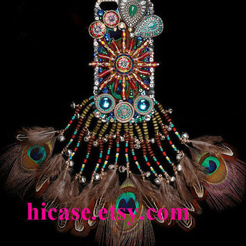3D Bohemian bling colorful Sun Disc peacock tassel iphone 5s case iphone 5c iphone 5 4 4s samsung galaxy s5 galaxy s4 note 2 note 3 mega 6.3