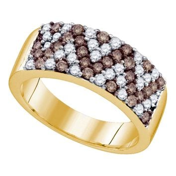 10kt Yellow Gold Womens Round Cognac-brown Color Enhanced Diamond Chevron Band Ring 1.00 Cttw
