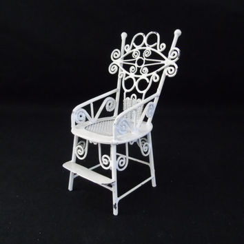 Dollhouse Miniature Baby High Chair Vintage White Shabby Metal Wicker Furniture