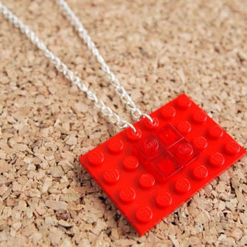 Red Lego Necklace - rectangle brick large lego geek nerd swag handmade jewelry upcycle FREE shipping to USa