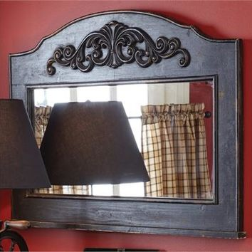 Primitive Distressed Wood Mantle Top Mirror In Aged Black By PARK DESIGNS