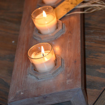 Rustic Reclaimed Cedar 5 Candle Bar Centerpiece, 5 Candles/Glass Holders, Candle Bar, Candle Holder, Table Centerpiece by Kagumise