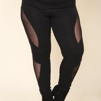 BLACK PLUS SIZE MESH INSERT LEGGINGS