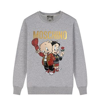 Moschino Autumn And Winter New Fashion Letter Pig Print Women Men Hooded Long Sleeve Sweater Gray