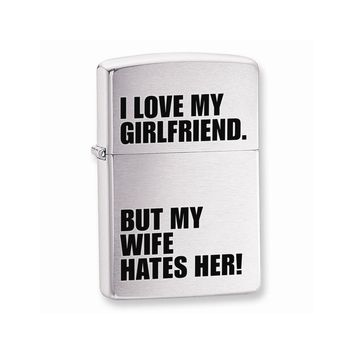 Zippo I love My Girlfirend Brushed Chrome Lighter - Engravable Gift Item