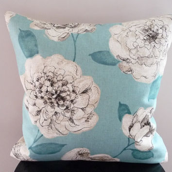 Turquoise Floral Pillow Cover / Natural Cotton & Linen Pillow / Large Flowers