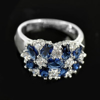 Fashion women 925 sterling  silver sapphire & white topaz gemstones Rings Size 6 7 8 9 10 = 1946029572