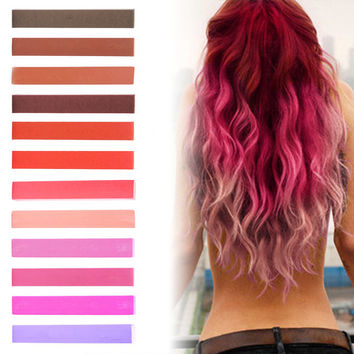 ROSE TINT | Brown, Brick, Red, Raspberry, Pink and Lilac Pastel Ombre Hair Chalk temporary hair color set of 12
