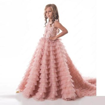 Flower Girl Dresses Tutu Blush Pink Tiered Beading Pearls Kids Evening Gowns Ball Gown Girls First Communion Dresses For Girls