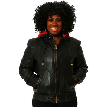 Womens Leather Jacket Black Hoodie Smooth Nappa Sheepskin Celebrity style
