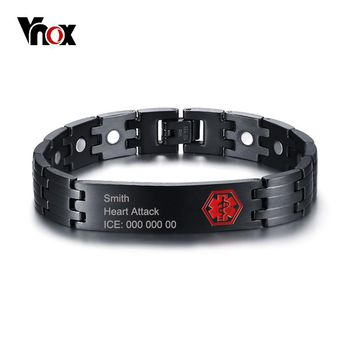 Vnox Free Engraving 12mm Medical Alert ID Bracelet for Men Bangle Health Care Magnetic Energy Stainless Steel Male Jewelry