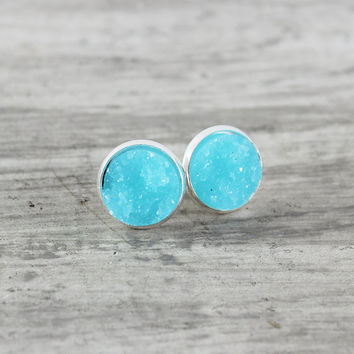 Blue Stud Earrings, Light Blue Earrings, Sky Blue Earrings, Silver Stud Earrings, Resin Cabochon Earrings, Faux Druzy Earrings, Druzy Studs