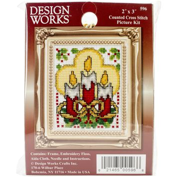 "Candles Ornament Counted Cross Stitch Kit-2""X3"""