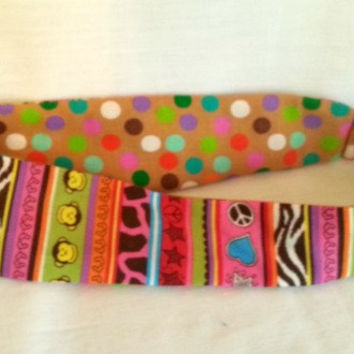 Reversible Fabric Headband -  Stripes Polka Dots Fabric Headband - Monkey Headband - Brown Hot Pink Zebra Giraffe Headband - Girls Headband