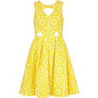 River Island Womens Yellow embroidered cut out prom dress