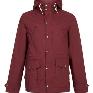 BURGUNDY WADDED TREK JACKET - Men's Coats & Jackets - Clothing - TOPMAN