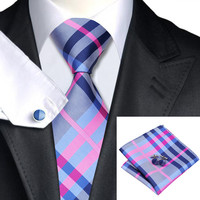 Darkgray&Pink&Blue 100% Silk Necktie Necktie Set For Men