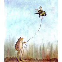 Frogs - Frog Note Cards Set of 12 - Stationery - Watercolor Frog & Bee Greeting Cards