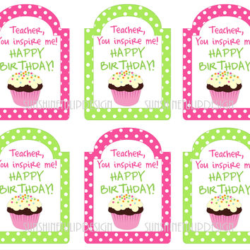 Printable Teacher Birthday Gift Tags, Happy Birthday Printable Teacher Tags by SUNSHINETULIPDESIGN
