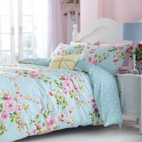 SUPERB COTTON USA QUEEN (230 X 220CM - UK KING SIZE) PINK BLUE ROSE FLORAL REVERSIBLE SHABBY DUVET COMFORTER COVER