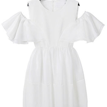Open Shoulder Ruffled Sleeve Tiered Dress