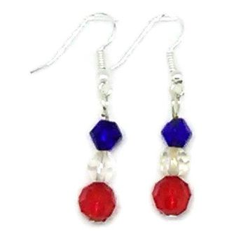 Patriotic Faceted Bicone and Rounds Beaded Earrings
