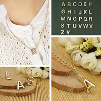 Fashion Women's Metal Alloy DIY Letter Name Initial Link Chain Charm Pendant Necklace 1V7V
