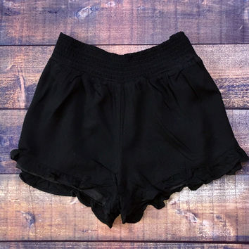 Ruffle Shorts in Black