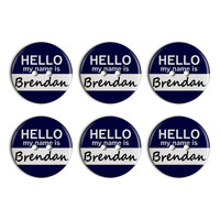 Brendan Hello My Name Is Plastic Resin Button Set of 6