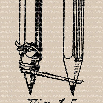 Vintage Clip Art Image –  Antique Carpentry Tools – Two Carpenter's Pencils - Illustration from 1917 book – instant download  CU OK img 1055