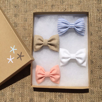 Pale blue stripe, tan, white denim, and peach Seaside Sparrow hair bow lot.  Beautiful birthday gift for her this Spring/Summer.