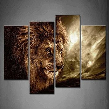 Lion with Mane 4-panel Wall Art Canvas Painting