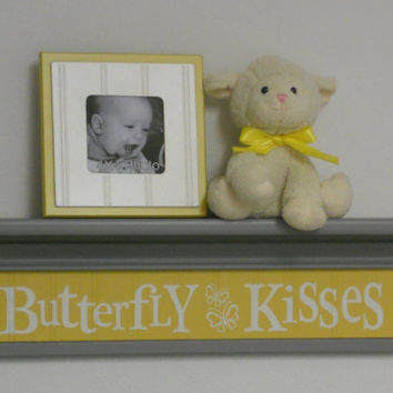 "Yellow Gray Art - Butterfly Kisses Sign on Grey 24"" Shelf - Baby Wall Art Butterfly Nursery Decor"