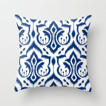 Ikat Damask Navy Throw Pillow by Patty Sloniger