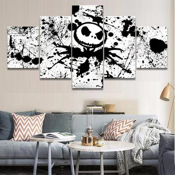 The Nightmare Before Christmas Movie Jack Black White  Poster Panel Wall Art