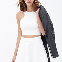 FOREVER 21 Textured Knit Skater Skirt Cream