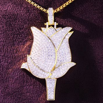 Men's Rose Flower Petals Savage Rapper Gold Finish Pendant