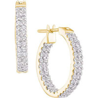 Round Diamond Ladies Fashion Earrings in 10k Gold 1 ctw