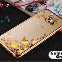 For Samsung Galaxy S5 S6 S7 Edge Plus G920 G930 G935 Luxury Plating Rhinestone Diamond TPU Phone Cases Silicone Soft Back Cover