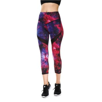 JIGERJOGER 2018 Spring Summer Dark Red purple Galaxy Printed Cropped women's Capris Leggings Yoga shorts cross waistband shorts