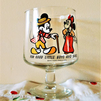 For Good Little Boys And Girls, Mickey And Minnie Mouse Glass, Disney Glass, Mickey Mouse Pedestal Glass, Disney Stemware, Disney Parfait