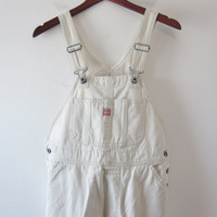 Vintage Bib Overalls Beige Twill Overalls Union Bay Teens Womens XS Dungarees Utility Painter Work Pants